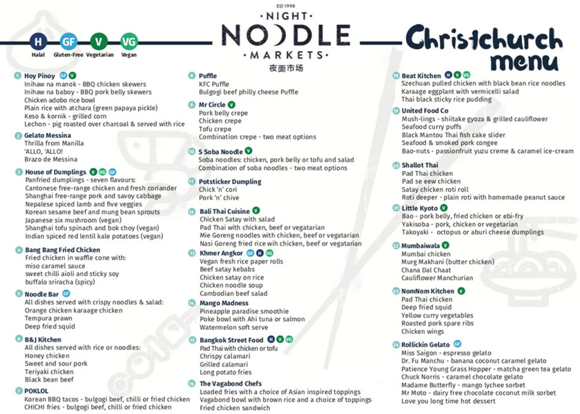 Noodle Night Market Menu