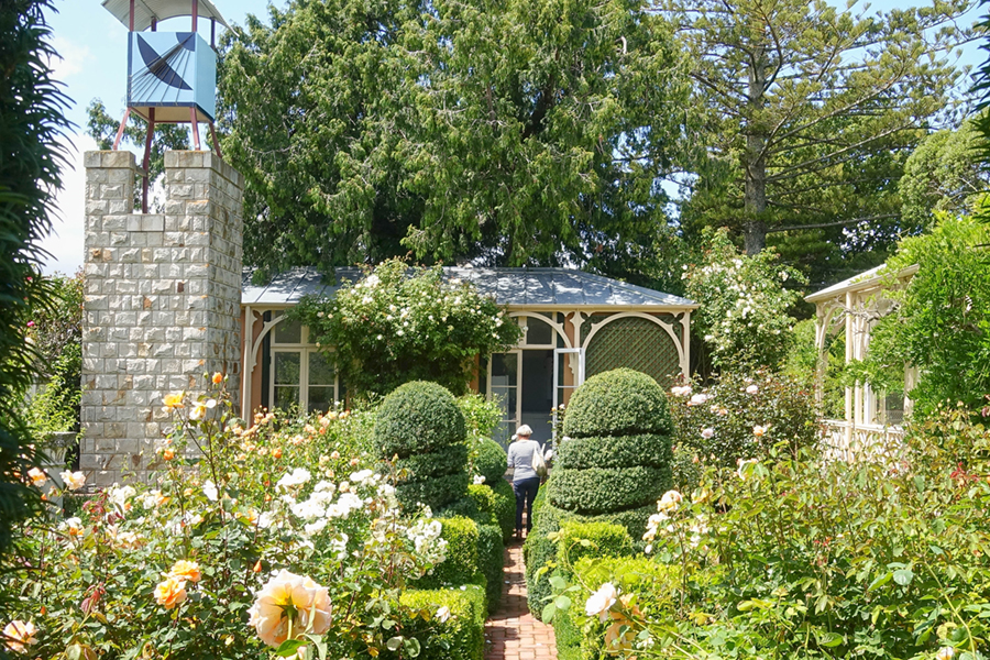 Looking to the Tea Room from the Rose Garden at Ohinetahi