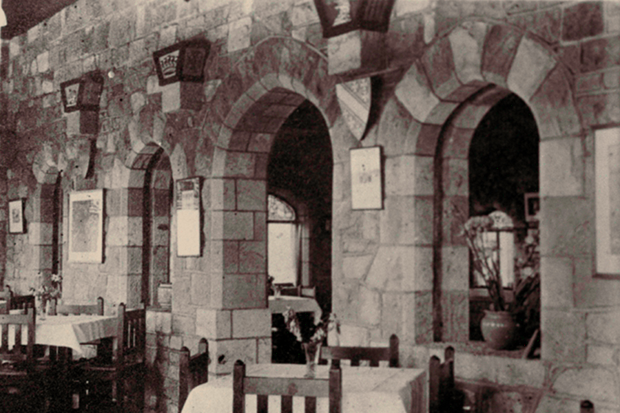 Tearooms inside the Takahe in the 1920s